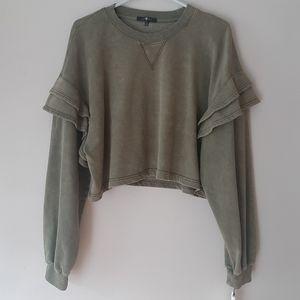 NWT 7 For All Mankind ruffle cropped sweatshirt